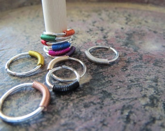 Endless Loop Ring with 3 Colored Coils (You Choose), 925 Sterling Silver, 20 Gauge - Lobe, Cartilage, Nose, Septum, Lip, Etc. - Made in USA