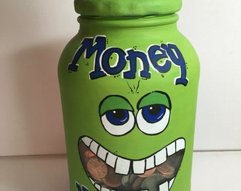 Bank | piggy bank | monster mouth bank | personalized piggy bank | hand painted bank | saving money bank | mason jar bank | money bank