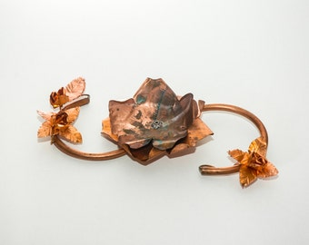 Hand made copper Candle holder (rose&blossoms)