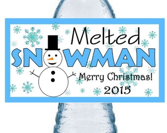30 ~ CHRISTMAS MELTED SNOWMAN Party Favors Water Bottle Labels ~ Free Shipping
