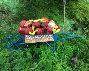 Miniature Dollhouse Rustic Green Wheelbarrow With Pumpkins and Gourds - Fairy Garden - Fall Halloween - One Inch Scale - Miniature Pumpkins