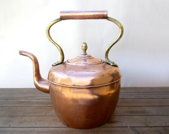 Antique Copper Kettle, Large Copper Kettle, Kitchen Decor, Vintage Copper, Copper Kettle, Tea Kettle, Stove Top Kettle, Copper And Brass
