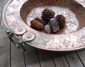 Decorative Copper Bowl, Hammered Copper, Large Copper Bowl, Table Centrepiece, Wall Hanging, Vintage Copper, Copper & Brass, Antique Copper