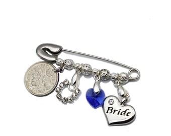Sweet Treasure Bridal Sixpence Wedding Charm Pin