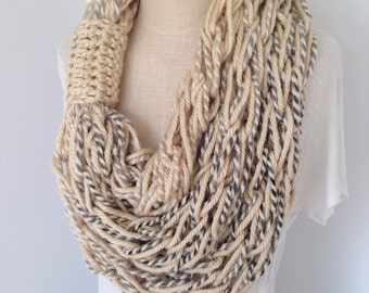 Infinity Scarf - Triple Wrap Scarf - Arm Knitted - Bulky Infinity - Circle Scarf - Thick Cowl -  Fashion Scarf - Neckwarmer - Tan and Blue