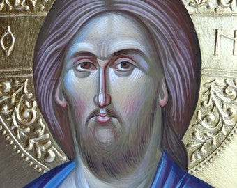 Jesus Christ, orthodox icon, hand painted, byzantine art, Greek icon, Jesus icon, orthodox gift, iconography, religious gift, icon painting,