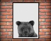 Bear Print, Woodlands Nursery Decor, Wall Art, Modern Minimal Black and White Animal Print *82*