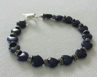 Lapis lazuli and pyrite beaded bracelet.