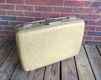 Vintage American Tourister Suitcase Mustard Yellow Travel Bag Luggage