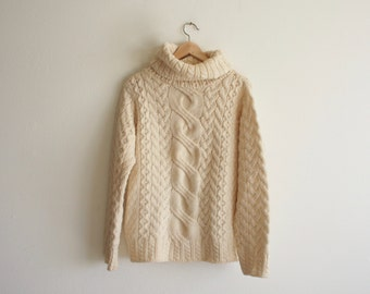 vintage high neck cable knit fisherman sweater