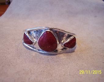 Solid Silver Beautiful Red Alunite Cuff Bracelet