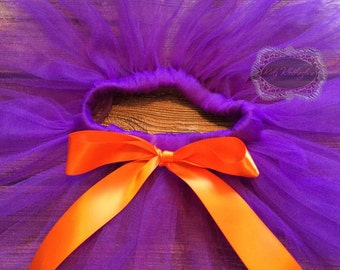 Purple Tutu Orange Bow Tutu Halloween Tutu Birthday Tutu Custom Tutu Newborn Tutu Baby Tutu Girl Tutu Photo Prop Tutu Skirt