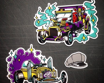 2 hot-rod sticker pack, inspired by the Munsters tv show's cars created by George Barris. vintage, tattoo flash, illustration