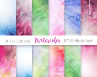 Watercolor Digital Paper, Watercolor Backgrounds, Printable Scrapbooking, Digital Collage, Scrapbook Paper, 12 JPEG Files 12x12
