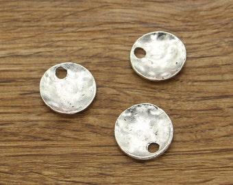 15pcs Blank Disc Charm Antique Silver Tone Necklace Pendant 18x19mm about 4mm hole 1705