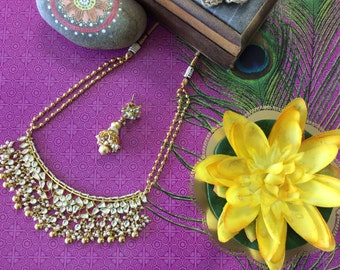 Beautiful 1 gm Kundan & Pearl Necklace Set