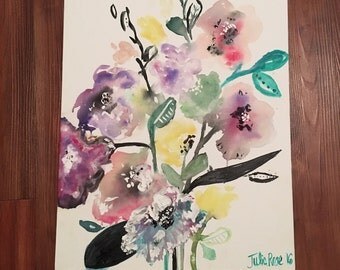 Original Flower Painting, abstract Painting, Modern Floral, contemporary flowers, colorful flowers, flower painting, home decor, chic art