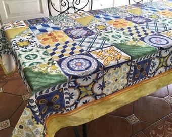 Cotton tablecloth stain resistant. Made in Italy Naples Church SantaChiara tile Decoration