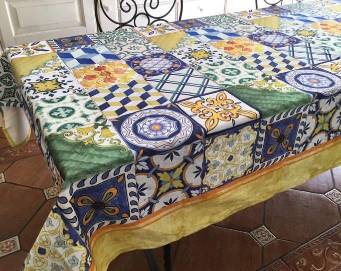 Stained cotton tablecloth. Made in Italy decoro tiles chiesa SantaChiara Napoli