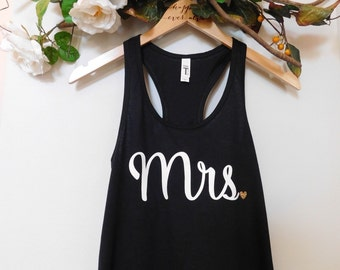 SALE, Mrs Tank Top, Wedding Tank Top, White and Gold Glitter Tank Top, Black Bride Tank Top, Racerback, Comfy Tank