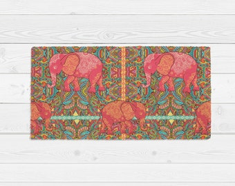 Boho Chic Rug, Elephants Coral Turquoise Pink Indie Gypsy