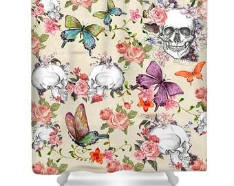 Sugar Skull Shower Curtain Beige Floral Rose Calavera Skulls