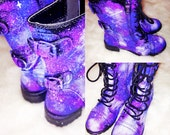Galaxy Shoes Nebula Space Boots Women's Shoes Galaxy Print Combat Boots A004