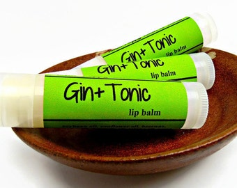 Gin & Tonic Lip Balm, Juniper and Lime Essential Oils, Cocktail Lip Balm, Chapstick, Gift for Him, Boyfriend Gift, Stocking Stuffer