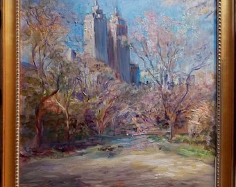 Central Park Alley in Spring, New York - Original Oil Painting by artist Oleg Levin