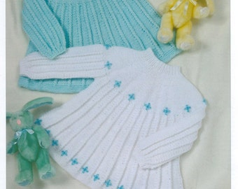 Baby Dresses Knitting Pattern PDF instant download Size 16 - 22 inch Double Knitting