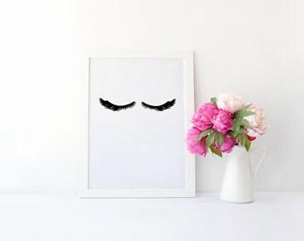 Sleepy Eyes Print - Sleepy Eyes Wall Art - Room Decor - Adorable Eyelashes