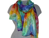 Silk Scarf Rainbow Silk Scarf Hand Painted Scarf Multi-color Scarf 100% Silk Hand-dyed Spring Summer Scarf Luxury Gift Ready to Ship