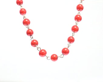Red beaded necklace, Pearl chain necklace, pearl necklace, necklace, red necklace,  beaded necklace,  red pearl necklace