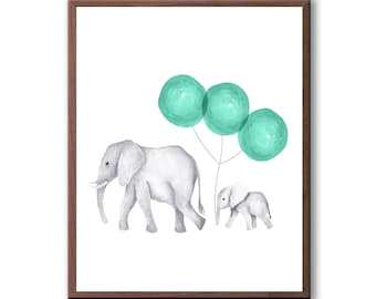 Elephant Painting, Watercolor, Green, Art For Boys, Elephants, Baby Elephants, Baby Boy Art, Art Print - E655W