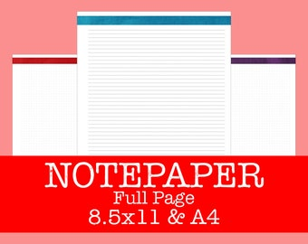 Notepaper and Dot Graphpaper Refill - Brushstrokes Primary - PDF Printable - INSTANT DOWNLOAD - 8.5x11 and A4