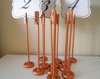 Set of 10 Handmade Extra Tall Wood Table Number Holders Table Card Holder - Glimmering Rustic Elegance - New Color! Rose Gold