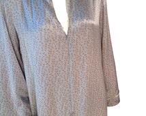 Silk Gingko Biloba Leaf Long Kimono Style Nightgown - Size Large