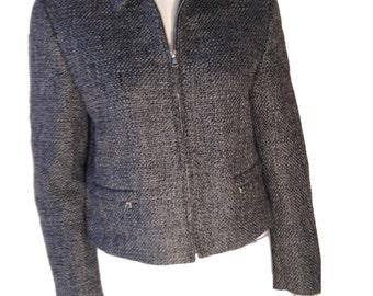 Miu Miu Prada Wool Tweed Grey Jacket - Made in Italy - Size 44