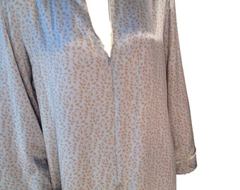 Silk Gingko Biloba Leaf Long Kimono Style Nightgown - Size Large