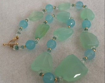 Zoe B 14K Gold Aquamarine Chalcedony Abstract Beaded Necklace 14K Gold Bead & Chalcedony Rondelles Accents Gorgeous