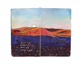 "Fine Art Print of Morocco Landscape Painting from Artist Travel Journal – ""Moon Rise Over The Sahara"""