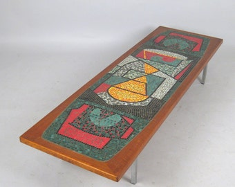 Teak and Mosaic Lowboard / Coffee Table/ Couch Table, 1960's Vintage, Denmark