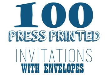 100 Press Printed Invitations