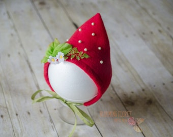 Strawberry hat, Strawberry bonnet, Strawberry costume, Red strawberry bonnet