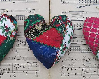 Quilted Heart Christmas ornament, fabric heart decoration, Xmas decor, crazy quilted Christmas heart, red green gold silver, tree decoration
