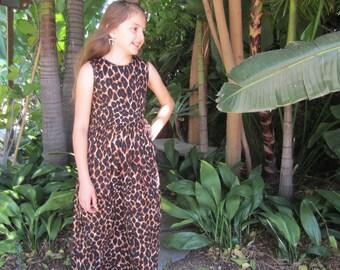 Girls Sleeveless Leopard Maxi Dress, Girls Summer Maxi Dress, Girls Long Leopard Dress - Sizes 4/5, 6/6x, 7/8, 10/12 Ready to Ship