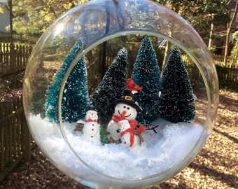 Snowmen Trio Glass Globe with Stand