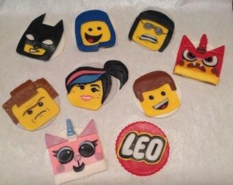 Lego Fondant Cupcake Toppers - Set of 8 Lego Movie