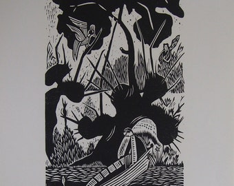 NInricus Biher Original Woodcut Print - Limited Edition Woodcut