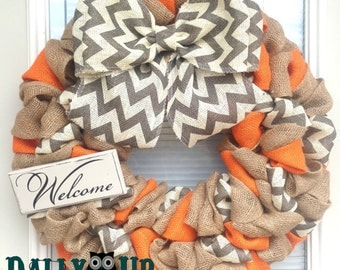 Burlap Wreath. Fall Wreath, Autumn Wreath, Orange Natural and Gray Chevron Burlap Wreath, Welcome Wreath, Everyday Wreath, Year Round Wreath